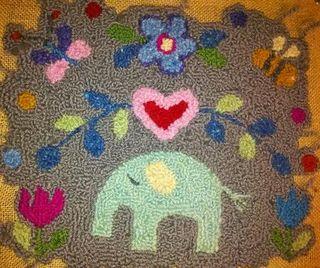 Hooked yarn elephant 2